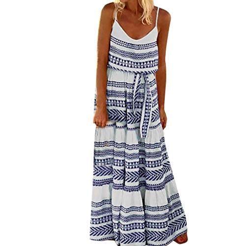 HIRIRI Women's Dresses Belted Tie Waist Summer Bohemian Spaghetti Strap Loose Swing Long Maxi Dress Blue