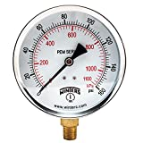 "Winters PEM Series Steel Dual Scale Economical All Purpose Pressure Gauge with Brass Internals, 0-160 psi/kpa, 4"" Dial Display, -3-2-3% Accuracy, 1/4"" NPT Bottom Mount"