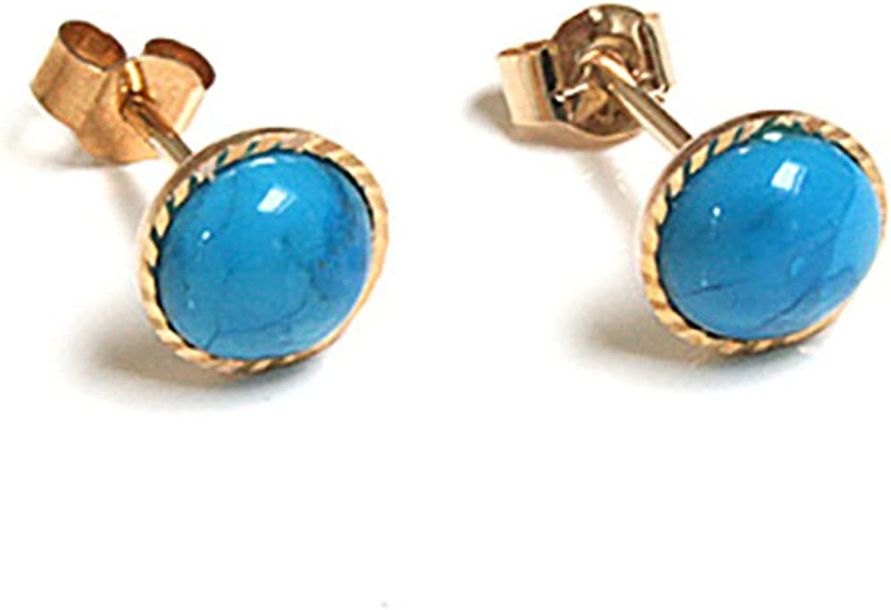 9ct Gold Round Turquoise Diamond Cut Stud Earrings Amazon Co Uk