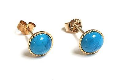 5f55e9f82 9ct Gold Round Turquoise Diamond Cut stud earrings: Amazon.co.uk: Jewellery