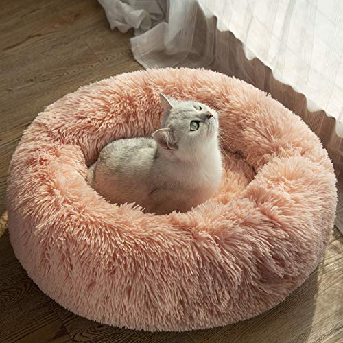 Veehoo Warming Round Dog Bed for Small Dogs & Cats,Luxurious Faux Fur Donut Cuddler, Bolster Pet Bed & Sofa, Extra Plush Dog Pillow & Couch, Machine Washable, Pink