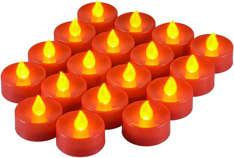 Red LED Votive Tea Lights Amber Yellow Punasi Set of 18 Battery Powered Flickering Candles with 1.18/×1.38 Inches for Home Halloween Christmas Festival Indoor Decoration