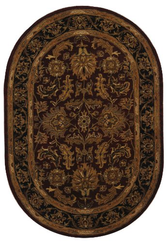 Safavieh Heritage Collection HG628C Handcrafted Traditional Oriental Red and Black Wool Oval Area Rug Oval (5' x 8' Oval)