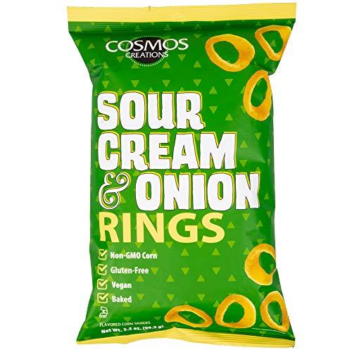 Cosmos Creations Premium Puffed Corn - Sour Cream and Onion Rings - Gluten Free Non-GMO 3.5 oz ...