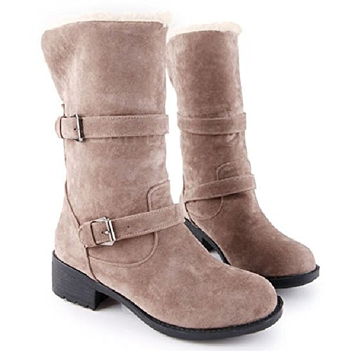 TAOFFEN Women Fahion Flat Suede Half Boots Warm Snow Boots With Buckle Strap Gray snUbPpeve