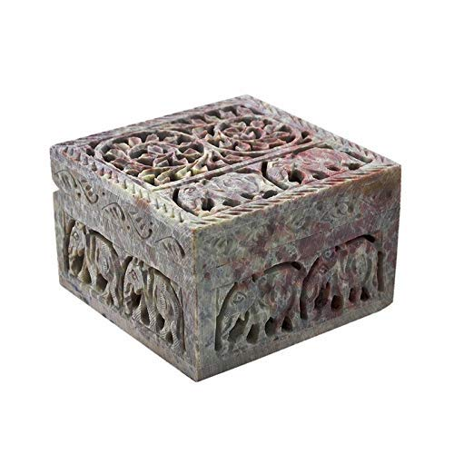 - Carry Me Hand Carved Soapstone Keepsake Jewellery Decorative Storage Box for Girls and Kids with Lattice Work