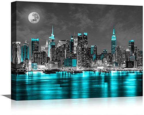 Black and White Canvas Wall Art Wall Decor for Bedroom Paintings Pictures New York Artwork for Home Walls Office Teal…