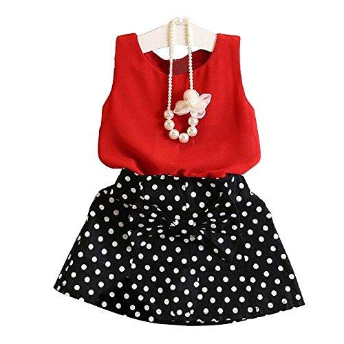 Kleid Mädchen (1-6 Jahre alt) Kolylong Mädchen Weste Kleid 1 Satz Kinder Rock Klage 90-130 (110, Rote)
