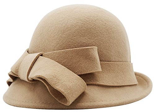 - Women Solid Color Winter Hat Wool Cloche Bucket with Bow Accent, Camel, One Size