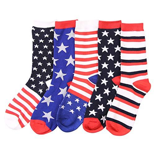 Women's Fun Colorful Crew Sock 5 Packs (American Flag (5-Pack)