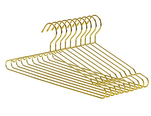 Nature Smile 45CM Men's Heavy Duty Metal Hangers, Space Saving Wire Hangers, Metal Clothes Hangers, Coat Hanger, Standard Suit Hangers Ideal for Everyday Use, 10 Pack, (Gold Metal Hangers)