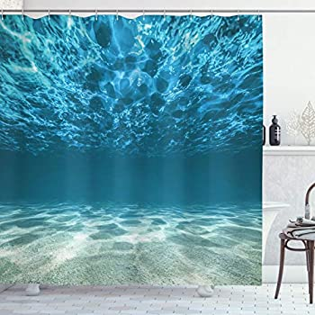 Ambesonne Ocean Decor Collection, Bright Gravelly Bottom and Wavy Surface Tropical Seascape Abyss Underwater Picture, Polyester Fabric Bathroom Shower Curtain, Blue Aqua Ivory