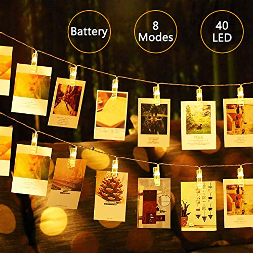 - LED Photo Clip String Lights - 8 Modes Starry Wall Hanging Clothespin Picture Peg Card Holder, Decoration Gifts for Girl School Dorm Room Graduation Birthday Easter Mothers Day, Battery Powered