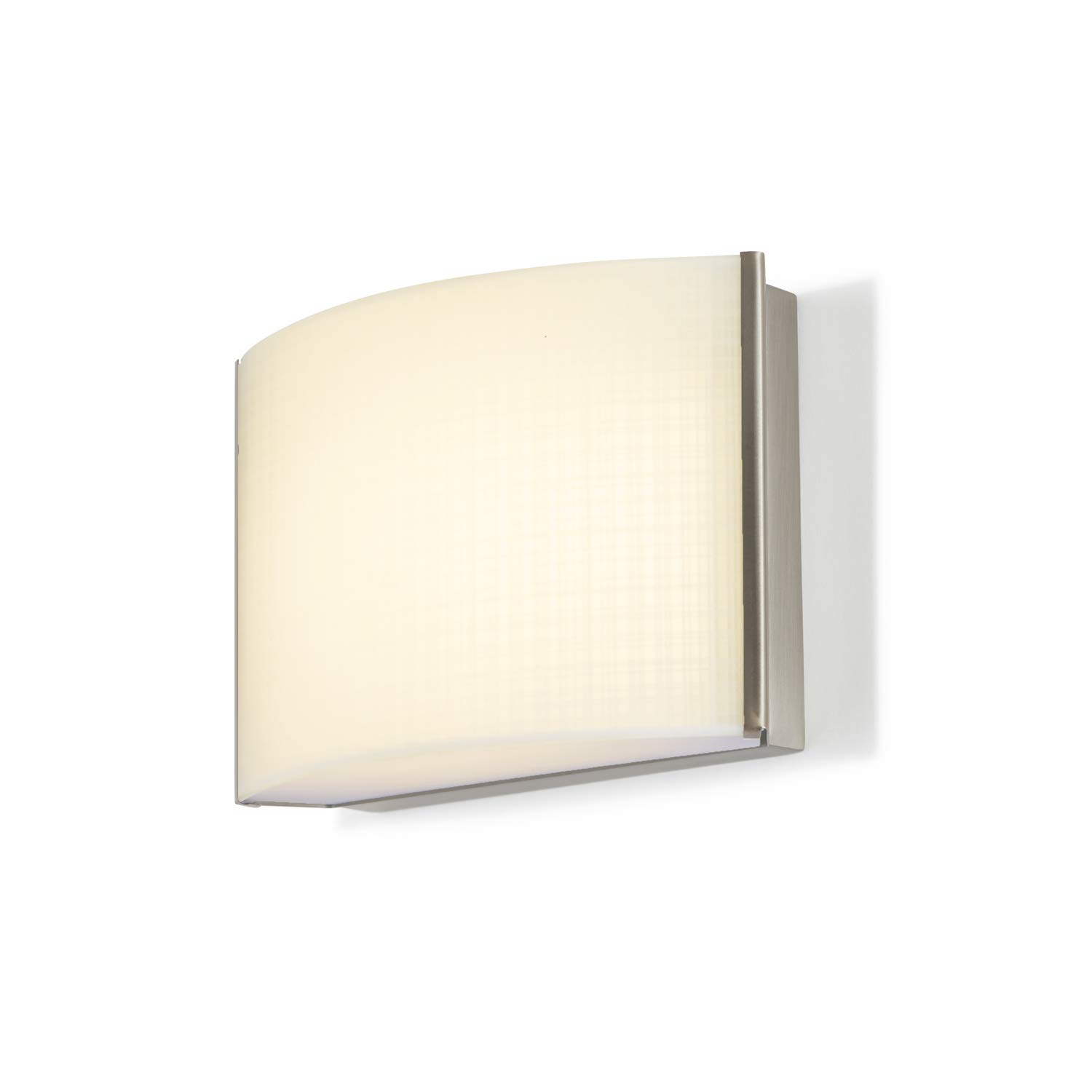 1-Light Nickel Sconce Vanity Fixture - LED Bathroom Lamp, Linen Textured Glass, Hardwire, Damp Located, Fully Dimmable - ETL Listed