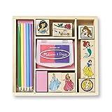 Melissa & Doug Wooden Stamp Set Disney Princesses (Arts & Crafts, Sturdy Wooden Storage Box, Washable Ink, 17 Pieces, 22.225 cm H x 20.32 cm W x 3.81 cm L)