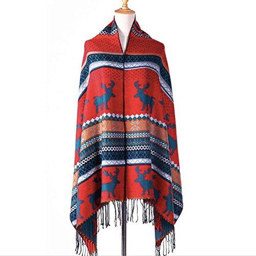 Womens Oversized Moose Winter Warm Plaid Striped Shawl Wrap Scarf Fringe Pashmina (4) (Striped Moose)