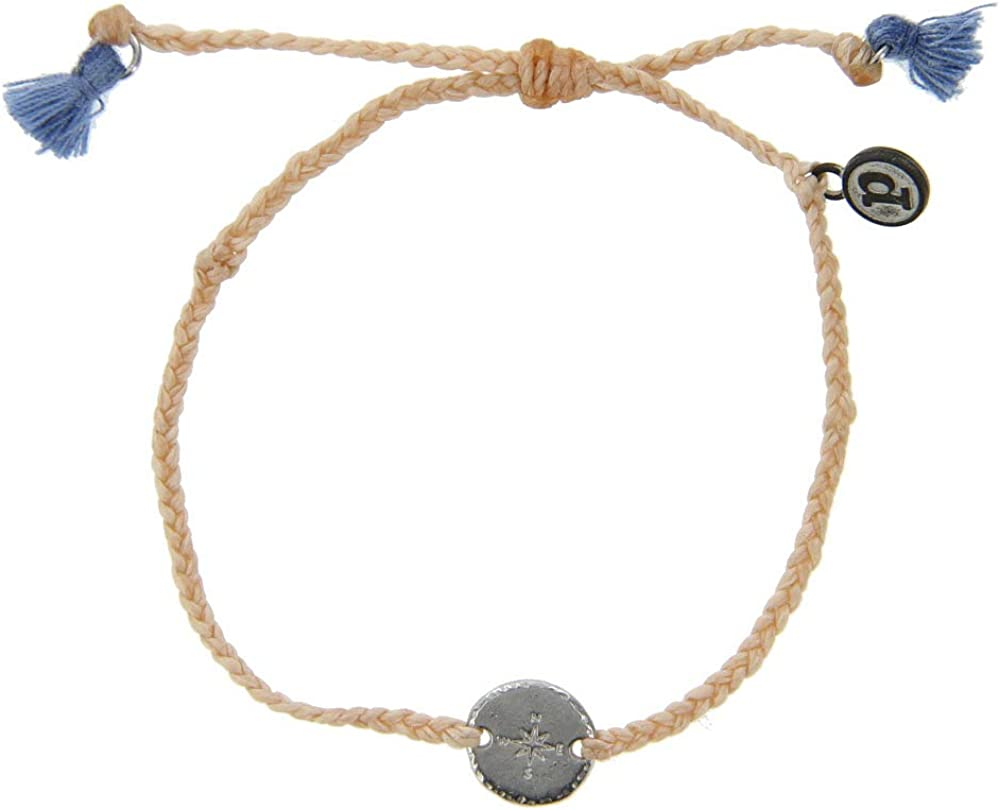 Pura Vida Silver/Gold Compass Braided Bracelet - Plated Charms, Adjustable Band - 100% Waterproof