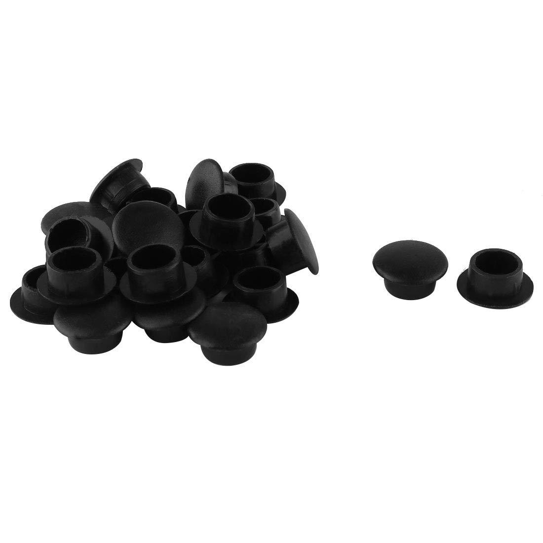 sourcingmap® 24 Pz. Plastica 10mm Diametro Incasso Tappi Piedini Caps Copri Nera a14091000ux0269