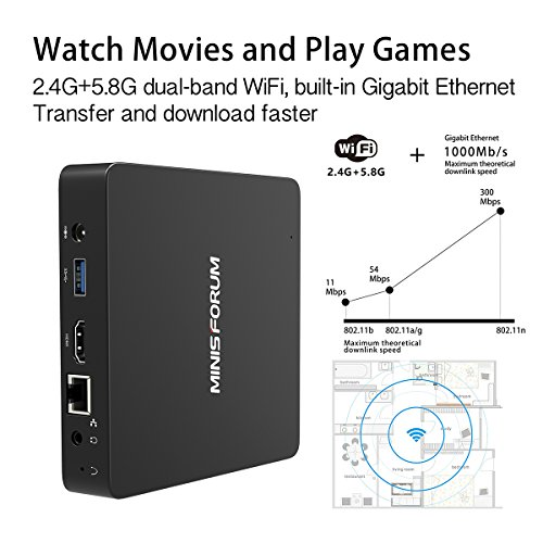 Upgraded Z83-F Fanless MINI PC Desktop, 4GB/32GB Intel Atom x5-Z8350 (up to 1.92 GHz) HD Graphics 400/ 4K/ 2.4G+5.8G WiFi/ 1000Mbps LAN/ BT4.0 [VGA&HDMI Dual Output] [Support Windows 10 64-Bit] by Plater (Image #5)