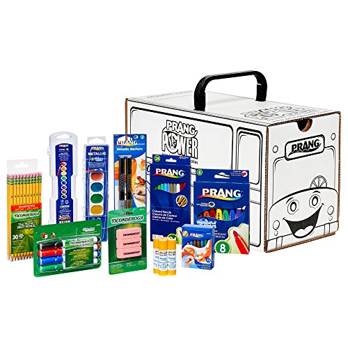 PRANG School Kit with School Bus Activity Box, Includes Markers, Crayons, Colored Pencils, Glue Sticks, Watercolors, Erasers, and Pencils, Assorted Colors (43107)