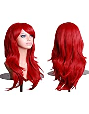 Remeehi Long Curly Cosplay Wigs For Women Synthetic Hair Fashion Party Full Wig Red