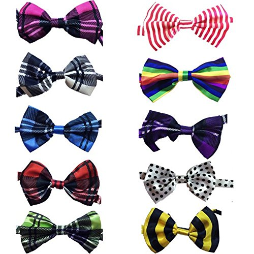 Lebbeen 10pcs/pack,Pet Dog Bow Tie Collar,Adjustable Pet Cat Dog Bow Ties Bowties,Grooming Accessories (Cat Bowties)