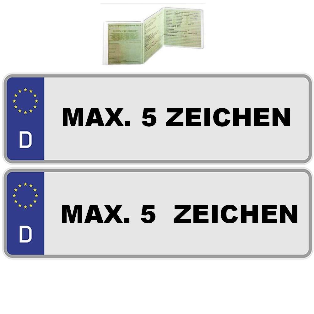 UTAL 2 x St/ück EU Kfz-Kennzeichen 46 cm x 11 cm Nummernschilder 460 mm mit individueller Pr/ägung nach Ihren Vorgaben. 460