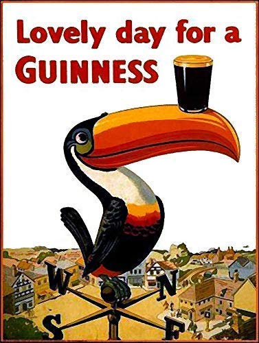 - Unoopler Lovely Day for A Guinness Retro Metal Sign Vintage Man Cave Bar Pub Vintage Metal Signs 12x16