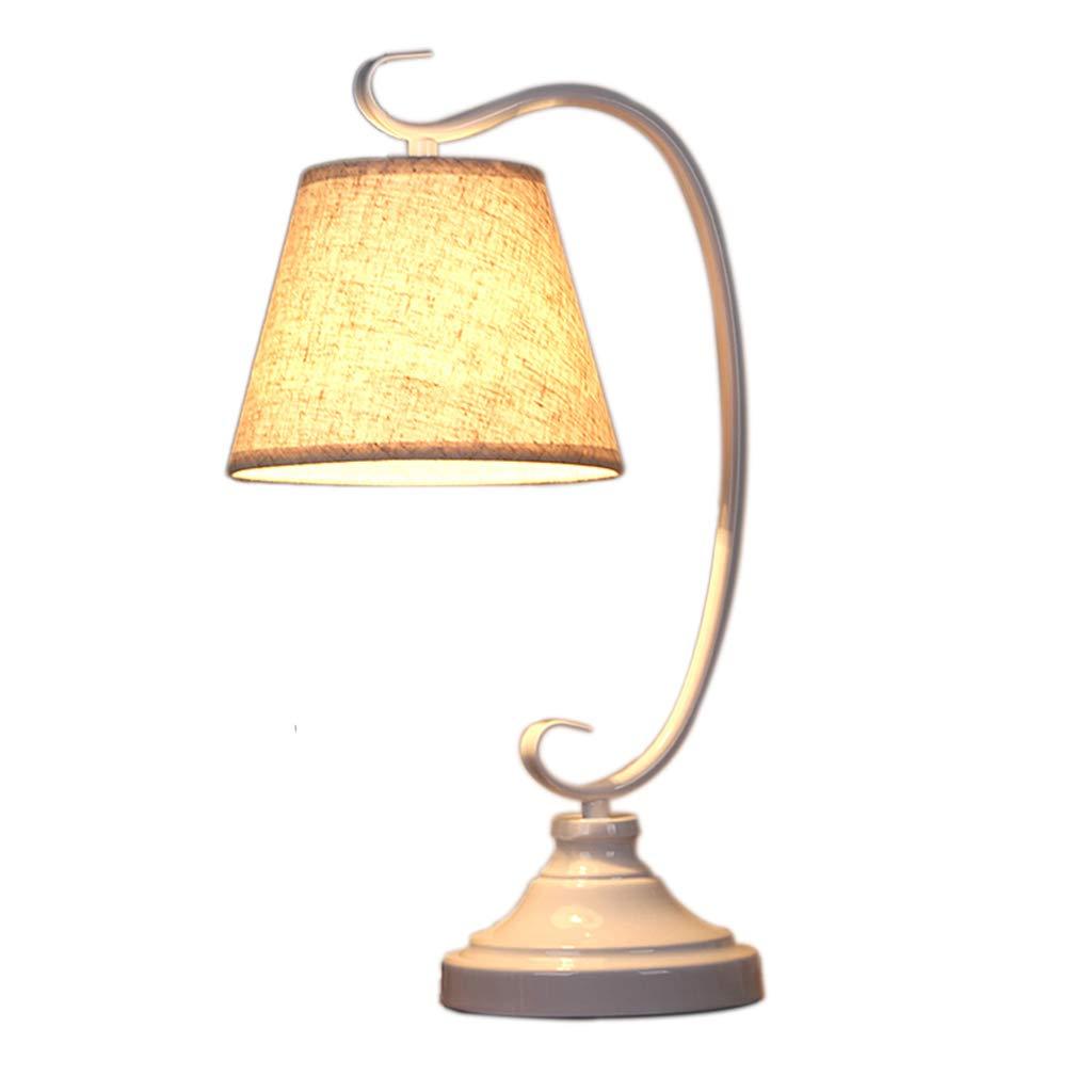 Tischlampe Schlafzimmer Nachttischlampe Beleuchtung Einfache Mode Schmiedeeisen Tischlampe Beleuchtung Geschenk (Farbe   Weiß, Größe   22  15  45CM)