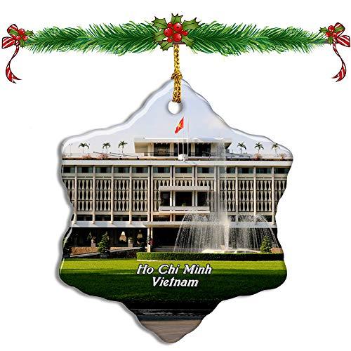 Fcheng Vietnam Reunification Palace Ho Chi Minh Christmas Ceramic Ornament Tree Decor City Travel Souvenir Double Sided Snowflake Sublimation Porcelain Hanging Ornament