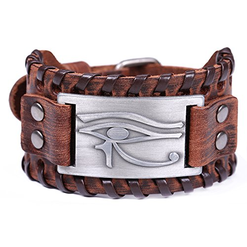 VASSAGO Ancient Talisman Egyptian Pagan Evil Eye of Horus Metal Connector Brown Leather Bracelet (Brown Leather, Antique Silver)