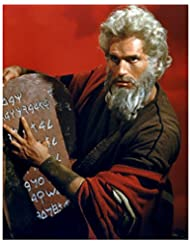 Charlton Heston 8 inch by 10 inch PHOTOGRAPH Planet of the Apes The Ten Commandments Ben-Hur from Waist Up w/Stone Tablet kn