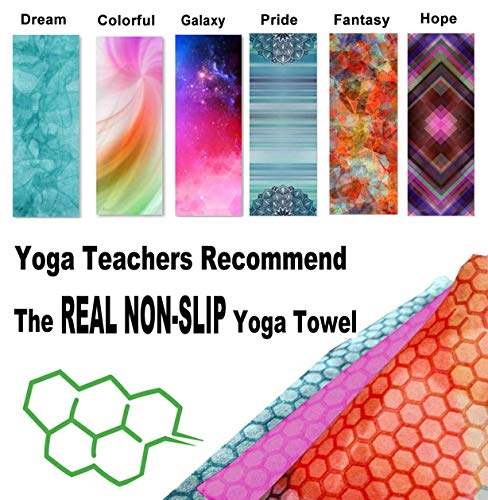(Hot Yoga Towel,Non-Slip Yoga Mat Cover,Eco-Friendly,Exclusive Pockets Cover Each Corner of The mat,Microfiber Yoga Towel,Ideal for Bikram, Hot Yoga, Pilates,or Sweaty Practice)