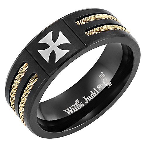 Willis Judd Men's Black Titanium Ring ( Christian Maltese Cross Centerpiece ) Maltese Cross Mens Ring