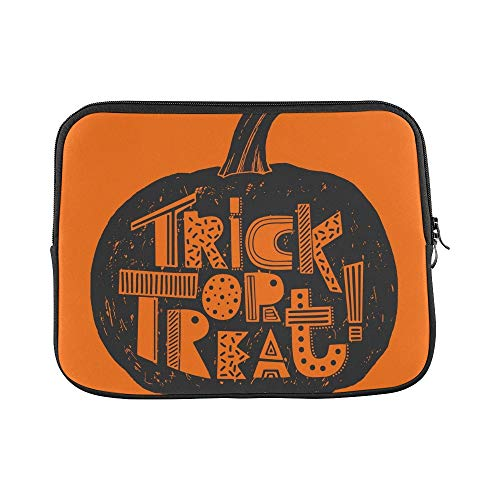 Design Custom Hand Drawn Trick Treat Halloween Card Sleeve Soft Laptop Case Bag Pouch Skin for MacBook Air 11