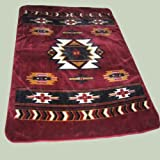 Southwest Style Burgandy Heavy Weight Queen Size Mink Blanket with Bonus Dream Catcher