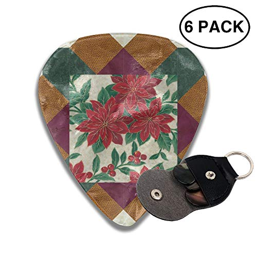 (FJSLIE Tumbling Blocks Flowers Frame Guitar Picks Classic 351 Shape Celluloid Guitar Plectrums,6 Packs in Holder Case for Guitar Bass)