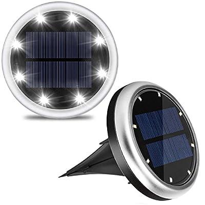 Solar Lights Outdoor In-Ground Lights, Lifebee 8 LEDs Solar Powered Pathways Lights Lawn Lights IP65 Waterproof Landscape Lighting for /Patio/Yard/Walkway/Driveway/Garden(2 pack)