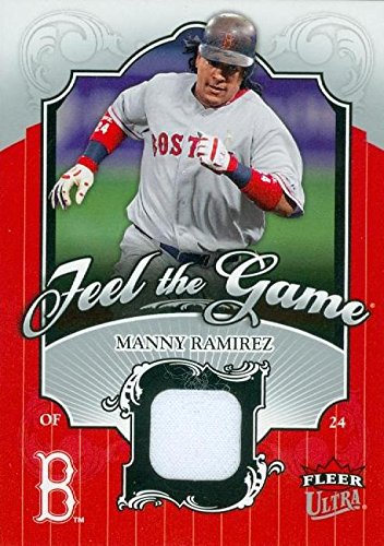 Autograph Warehouse 343402 Manny Ramirez Player Worn Jersey Patch Baseball Card - Boston Red Sox 2006 Fleer Ultra No. FG-MR Ramirez Autographed Jersey