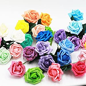 Various Colors Wedding Centerpieces Flowers 72 Aritificial Foam Roses For Bridal Bridesmaids Bouquets Kissing Balls 91