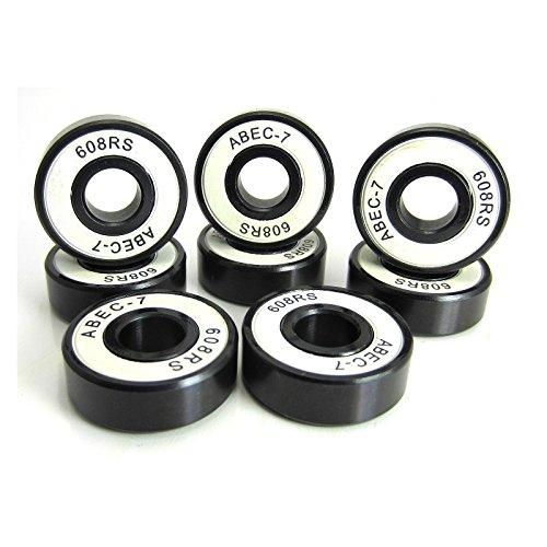 8x22x7mm BK-WH ABEC 7 Precision Skate Ball Bearings Rubber Seals (8) by TRB RC