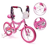 14'' Kid's Bike for 3-5 Years Old, Bicycle for Girls with Basket, EVA Tires with Training Wheels, Pink