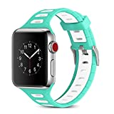Kanteband 38mm Apple Watch Soft Silicone Replacement Band - 2018 Outdoor Sport&Fitness Breathable Edition Rubber Wrist Strap for New iWatch Series 4/3/2/1, Mint Green+White