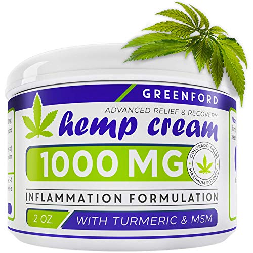 Pain Relief Hemp Cream 1000 Mg - Hemp Extract Cream for Inflammation & Sore Muscles - Natural Joint, Arthritis & Back Pain Support - Made in USA - Arnica, MSM, Turmeric - Best for Skin Health