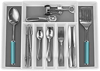 Sorbus Flatware Drawer Organizer, Expandable Cutlery Drawer Trays For Silverware, Serving Utensils, Multi-purpose Storage For Kitchen, Office, Bathroom Supplies (Cutlery Drawer Organizer - White) 0