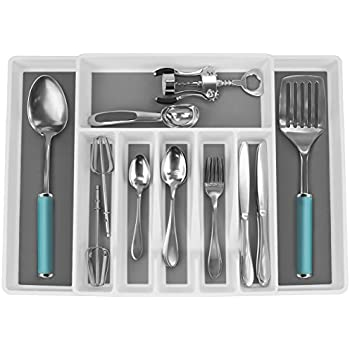 Non-slip Cutlery Drawer Trays for Silverware Serving Utensils Plastic Skinny Flatware Holder for Drawer Multi-Purpose Storage Trays for Kitchen Bathroom Flatware Drawer Organizer Narrow