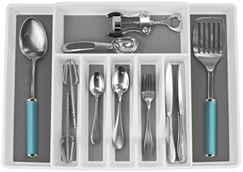 Sorbus Flatware Drawer Organizer, Expandable Cutlery Drawer Trays for Silverware, Serving Utensils, Multi-Purpose Storage for Kitchen, Office, Bathroom Supplies (Cutlery Drawer Organizer - White) (Drawer Expandable Organizer)
