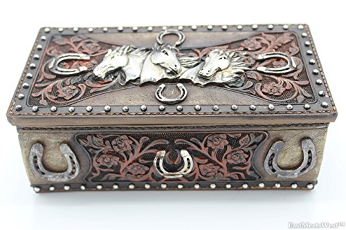 Large Western Cowboy Cowgirl Hand Tooled Flowers Horseshoe Siver Horse Heads Lid Trinket Jewelry Box Rusic Home Decor
