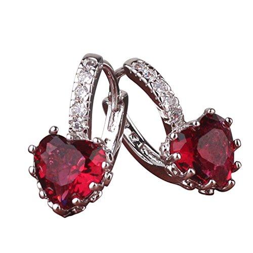 Anzona Earring January Birthstone 18k White Gold Filled Earring Pretty Charm Garnet Leverback Hoop Earing Lady Jewelry E003e