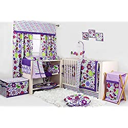 Botanical Purple Flower for girls 10 pc Crib Bedding Set